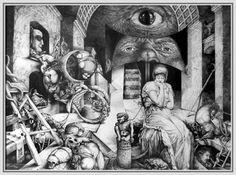 Vindobona Altarpiece III by ArtOfTheMystic on DeviantArt Vienna School Of Fantastic Realism, Realism Art, Visionary Art, Fantastic Art, Awesome, Dark Art, Cool Drawings, Saatchi Art, Artist