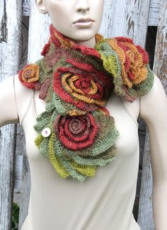 Crochet Scarf Woman Bridal fashion Gift Crochet button scarf