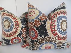 Suzani Red Pillow Cover Blue Suzani Pillow Cover by ClavelFashion, $25.00