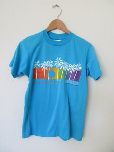 Blue Puerto Rico Palm Tree T-Shirt, Rainbow Sunset behind Palm Trees Sz S by GeekGirlRetro on Etsy