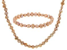 7-8mm Champagne Cultured Freshwater Pearl Necklace And Stretch Bracele