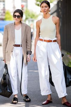 Haute Couture Fashion Week street style July 2018: guests wearing white jeans and nude tops
