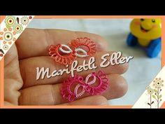 Mekik Oyası Sonsuzluk Modeli Yapılışı - YouTube Tatting Earrings, Tatting Jewelry, Needle Tatting, Needle Lace, Afghan Patterns, Tatting Patterns, Filet Crochet, Infinity, Collars
