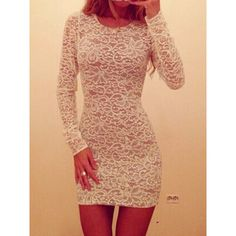 """Sexy White Long Sleeve Sheer Lace Fitted Dress"" found on Polyvore"
