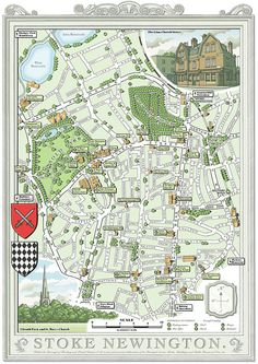 Stoke Newington (N16) 48 x 33 cm illustrated map print