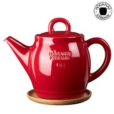 Apple Red Teapot With Wooden Saucer from Red Candy