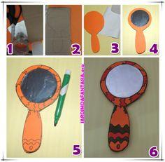Lenda da Iara Espelho de Mão Com Material Reciclável