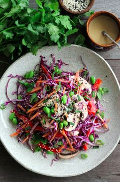 A bright and fresh salad with lots of delicious crunch. You'll find the dressing addictively tasty!