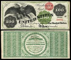 US 100 Dollar Note 1863 Mar 10 Serial# 57912 Signatures: Chittenden / Spinner Large American Eagle 100 Dollar Bill Tattoo, Money Sign Tattoo, Old Coins Value, Money Notes, Gold Money, Coin Values, Coin Collecting, The 100, The Unit