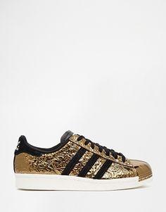 Golden Shoe! Adidas Originals Superstar Gold 80's Metal Toe Trainers