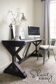 #DIY Farmhouse Desk for the Office area, her blog states it only uses approximately $50 to $55 to make and it's done very simply with clean lines. This is definitely a must do for the small room becoming the office!!