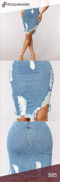 """Medium Blue Wash Distressed Denim Skirt PRODUCT DETAILS Available In Medium Blue Wash High Rise Distressed Denim Fabric Stretch Back Zipper Detail 20.5"""" Length Runs small, shop one size up 99% Cotton 1% Lycra Boutique Skirts"""