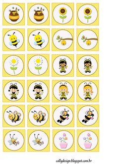 Quebra Cabeça e Jogo da Memória Personalizados para Imprimir - CALLY'S DESIGN-Kits Personalizados Gratuitos Spring Animals, Bee Party, Bee Crafts, Bottle Cap Images, Bee Theme, Tea Art, Bees Knees, Planner Stickers, Kids Playing