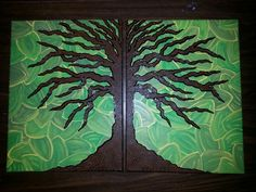 Tree on two canvases
