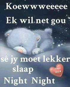 Goeie Nag, Afrikaans Quotes, Good Night Sweet Dreams, Bear Pictures, Good Night Quotes, Tatty Teddy, Special Quotes, Jesus Is Lord, Thoughts