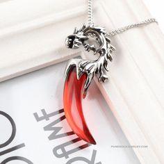 Pendant retro mens necklace wolf's fang bone titanium steel
