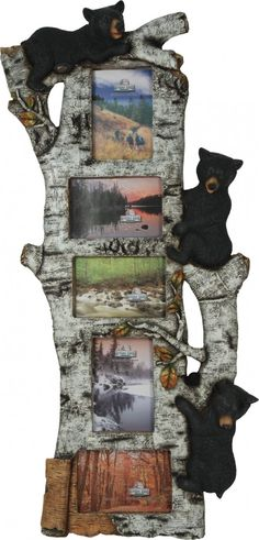 "What a wonderful way to display your favorite outdoor photos! This poly resin Black Bear and Birch photo frame features three black bears climbing a birch tree. This creative frame holds five 4"""" x 6"""