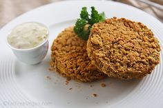 Jackfruit Crab Cakes from fatfree vegan - I have no idea how the original thing tastes, but this version is great!