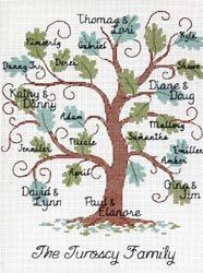 Curvy Oak Family Tree Counted Cross Stitch Kit