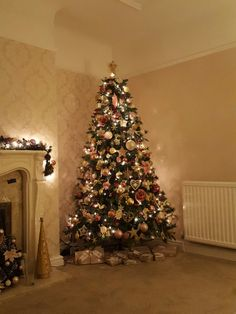 Christmas tree in blush pink,  cream and gold