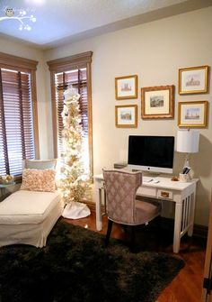 Gold and White Home Office