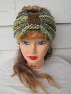 Turban Headband Hand Knit Ear Warmer headband by Ritaknitsall, $20.00