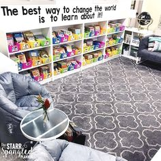 s this not the coziest classroom library ever?! Jillian from @starrspangledplanner has created an amazing space for her students! Please