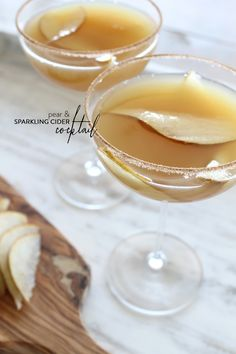 Pear & Sparkling Cider Holiday Cocktail  Read more on SMP Living -  http://www.stylemepretty.com/living/2013/11/26/pear-sparkling-cider-holiday-cocktail/