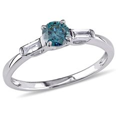 1/2+CT.+T.W.+Enhanced+Blue+and+White+Diamond+Engagement+Ring+in+10K+White+Gold