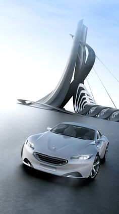 ♂ Creation of a the virtual architecture created for the silver concept car Peugeot SR1, as an environment for the CGI pictures.