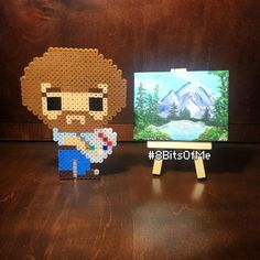 """Sandra Leal (@8bitsofme) on Instagram: """"Bob Ross and his painting.   the finished @perler_purrs Giftset I made him! I painted some happy…"""""""