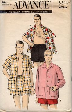Advance 8311 1950s Mens Boxer Style Swim Trunks Shorts Cabana Shirt adult vintage sewing pattern by mbchills