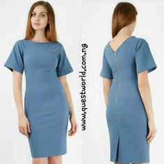 CLOSET Blue Seam Detail V-Back Pencil Dress size 8 10 14 #12000 www.questworld.com.ng pay on delivery within Lagos. Nationwide delivery.