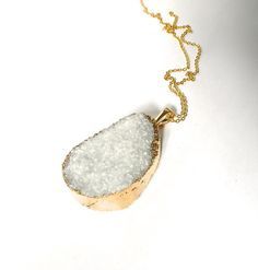 GOLD dipped ice white crystal quartz  druzy drusy by aaanouk, $35.00