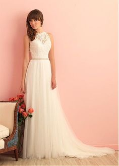 Glamorous Tulle High Collar Neckline A-line Wedding Dress With Lace Appliques