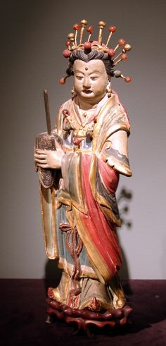 Chinese Stucco Figure of an Immortal Superbly modeled in the three quarter round Wearing a jeweled tiara and holding a guei (tablet of rank) Yuan/Ming dynasty Circa 14th-16th century