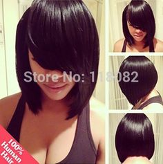 Find More Wigs Information about Short BOB Wig for Women Long Side Fringe Bang ,quality Malaysian Virgin Remy Human hair,8 12inch Glueless Full or Front Lace Cap,High Quality lace wig long,China lace net wigs Suppliers, Cheap wig comb from Double Leaf Wig on Aliexpress.com