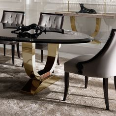 Italian Black Lacquered Gold Oval Dining Table