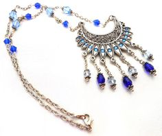 Sapphire Obsession...Handmade, Necklace, Sapphire Blue, Bib Necklace, Ethnic Inspired, Wire Wrapped, Fire Polished Beads, Silver Plated