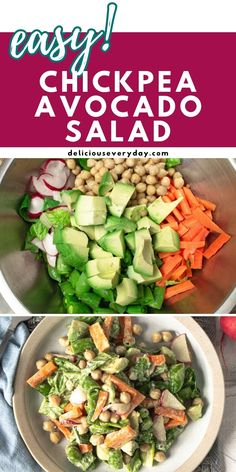 This Chickpea Avocado Salad makes for a quick, healthy meal or side dish. This creamy chopped salad is ready in under 20 minutes and topped with a sweet Tahini Maple Dressing. Easy Vegan Dinner, Vegan Dinner Recipes, Vegan Dinners, Healthy Recipes, Bhg Recipes, Avocado Salad Recipes, Beef Bourguignon, Vegan Comfort Food, Vegetarian Soup