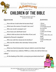 The Bible 265149496795205482 - Enjoy our free printable Bible Quiz, Children of the Bible. Learn more about Jesus and other children in the Torah and Bible scriptures. Source by roxanne_pitts Bible Activities For Kids, Sunday School Activities, Sunday School Lessons, Bible Resources, Bible Study For Kids, Bible Lessons For Kids, Kids Bible, Bible Quiz, Bible Trivia