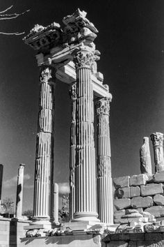 Fine Art image of the Ruins of the Temple of Trajan Acropolis of Pergamon taken in Bergama, Turkey. All Rights Reserved © Marie-Eve Painchaud Acropolis, Classical Architecture, Professional Photography, Art Images, Temple, Eve, Turkey, Fine Art, Black And White