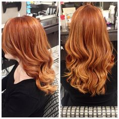 Stunning natural looking red hair with golden balayage highlights.