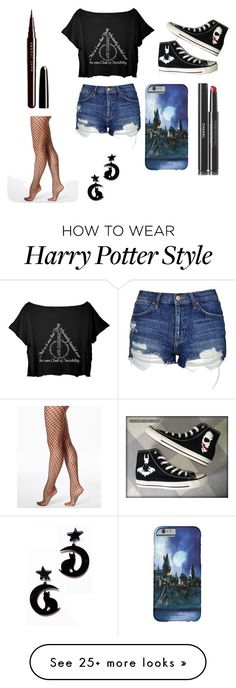 """Harry Potter ⚡"" by oopsbelladonna on Polyvore featuring Topshop, Converse, Marc Jacobs, Chanel and Hue"