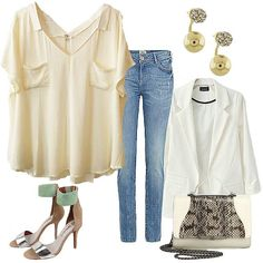 Modern Neutral and so Sleek ✔check out our Deep V-neck Blouse with Pockets and Crystal Encrusted Double Drop Earring Jackets @classicpaperdoll ~pair it with jeans | boyfriend jacket | sassy sandals | hip purse | to give an accent to the #outfit #ootd #classicpaperdoll #cpdfave #cpd #fashion #instafashion #instalove #igdaily #followforfollow #tagsforlikes #l4l #인스타 #옷스타그램 #인스타그램 #인스타데일리 #일상