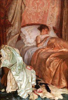 Young Woman Sleeping in an Interior by Fabio Cipolla (Italian, oil on canvas, x cm Art And Illustration, Old Paintings, Beautiful Paintings, Renaissance Kunst, Victorian Art, Classical Art, Italian Artist, Old Art, Fine Art