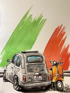 Vespa Ape, Lambretta Scooter, Auto Poster, Fiat 500 Pop, Fiat Cars, Fiat Abarth, Steyr, Car Drawings, Small Cars