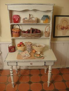 Artisan Kitchen Hutch AL Chandronnait'S Baskets Filled With Apples AND Shells dollhouse miniature 1:12 scale