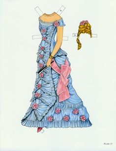 blue gown for paper doll