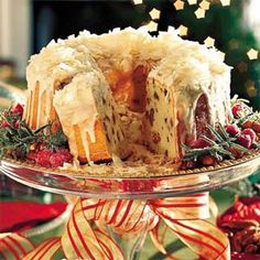 Cream Cheese-Coconut-Pecan Pound Cake!!  As if a cream cheese pound cake was not rich enough, this one goes over the top with the addition of shredded coconut and chopped pecans.  And don't forget the sugar glaze that's drizzled over the top!!  For a special holiday occasion, garnish the cake plate with sugared rosemary sprigs and sugared cranberries!!
